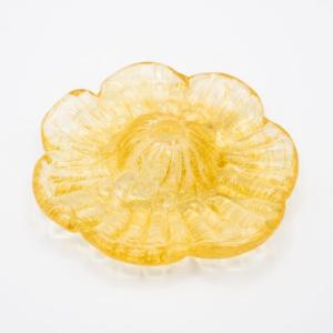 Fiore ricambio per lampadario con graniglia ambra e foro centrale