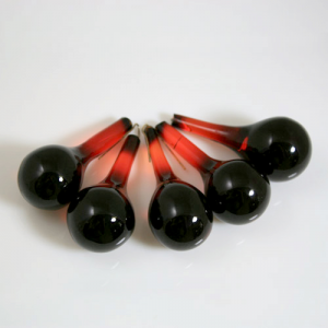 Goccia rotonda 55 mm in vetro Murano rosso rubino in fogo