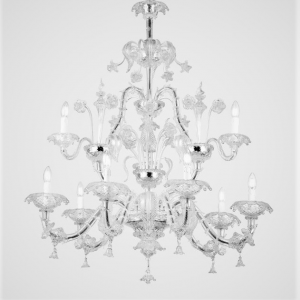 Grande lampadario classico veneziano 9 luci in vetro di Murano cristallo.