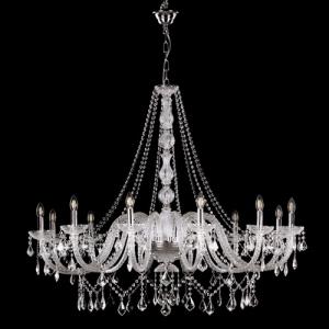 Grande lampadario cristallo 12 luci stile Boemia, allestito in cristallo molato e struttura cromo.