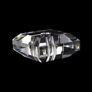 Infilaggio 60 mm cristallo massiccio quadrato con bordi sfaccettati, foro centrale 11 mm per lampade cristallo