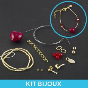 Kit per la creazione fai da te di braccialetto con perle cuore in vetro di Murano