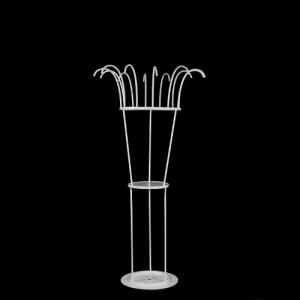 Lampada da tavolo con 12 tondini + rigetta h. 10 mm passo 18 mm per aggancio catene, struttura bianco vericiato.  Opera non cablata.