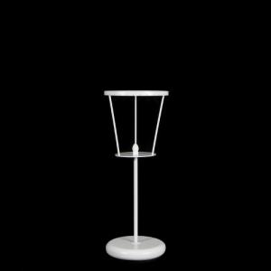 Lampada da tavolo con rigetta h. 10 mm passo 18 mm per aggancio catene, struttura bianco vericiato. Opera non cablata.