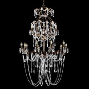Lampadario 10+5 luci allestito con cristalli molati, ottagoni e mandorle, struttura bronzo con foglie stilizzate.
