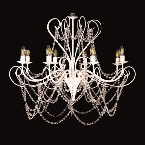 Lampadario 8 luci allestito con cristalli molati, struttira bianca con ricci bassi e alti