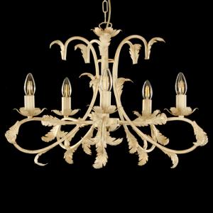 Lampadario a 5 luci, telaio avorio pennellato oro con foglie ornamentali e bracci ricurvi