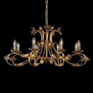 Lampadario a 8 luci, struttura bronzo spennellato oro con foglie e bracci ricurvi