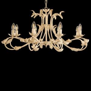 Lampadario a 8 luci, telaio avorio spennellato oro con foglie e bracci ricurvi