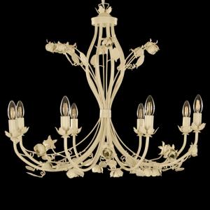 Lampadario chandelier avorio 8 luci, con rose fiori e foglie in ferro verniciato.