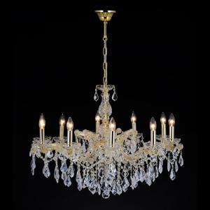 Lampadario cristallo 10 luci stile Maria Teresa con pendagli e paralume