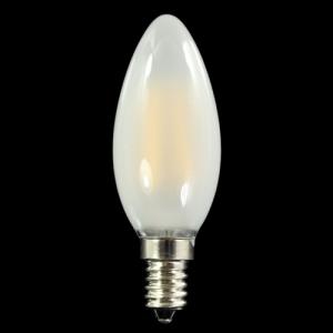 Lampadina E14 satinata 4 strisce Led COB lineari - luce calda 3000K - 4 W 230V