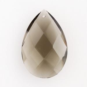 Mandorla in cristallo colorato di Boemia 50 mm colore fumè. Pendente goccia per restauro lampadari.