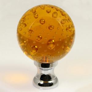 Maniglia pomello sfera ambra disegno pulegoso Ø65 vetro di Murano rocchetto nikel.