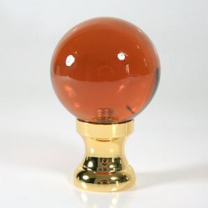 Maniglia pomello sfera ambra Ø50 vetro di Murano, attacco oro.