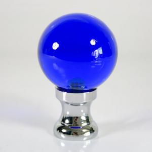 Maniglia pomello sfera blue Ø50 vetro di Murano rocchetto nikel.