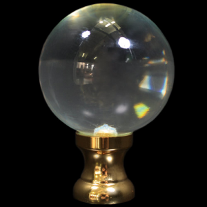 Maniglia pomello sfera cristallo Ø65 vetro di Murano con rocchetto oro.