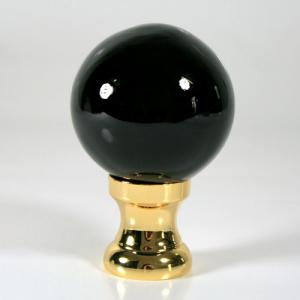 Maniglia pomello sfera nero Ø50 vetro di Murano rocchetto oro.
