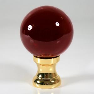 Maniglia pomello sfera rosso Ø50 vetro di Murano con rocchetto oro.