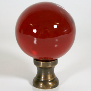 Maniglia pomello sfera rosso Ø65 vetro di Murano con rocchetto oro anticato.