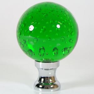 Maniglia pomello sfera verde disegno pulegoso Ø65 vetro di Murano rocchetto nikel.
