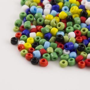 Mix perline di conteria 4.5 mm  vetro murano in pasta giallo, verde, rosso, blu, nero, bianco, azzurro.