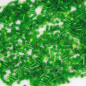 Mix perline di conteria cannette 2x5 mm melange vetro murano verde
