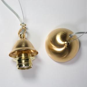 Montatura 1 luce sospensione E27 oro spazzolato: corona + cavo acciaio + cavo pvc trasparente