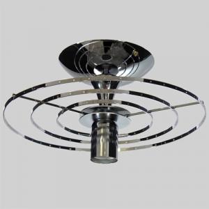 Montatura 3 anelli per lampadario a plafoniera circolare in acciaio cromato Ø 30 cm