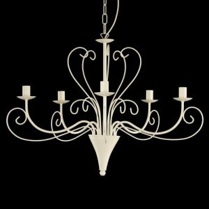 Montatura lampadario a 5 luci colore bianco con ricci bassi e alti
