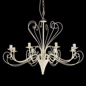 Montatura lampadario a 8 luci colore bianco con ricci bassi e alti
