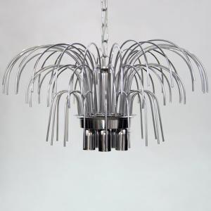 Montatura lampadario a pioggia 5 luci, finitura cromo, diametro 50 cm con 60 zampilli forati e 12 fori nel piatto.