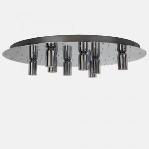 Montatura plafoniera 8 luci finitura cromo 64 fori, diametro 50 cm.