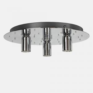 Montatura plafoniera a 3 luci, a 41 fori con finitura cromo, diametro 30 cm