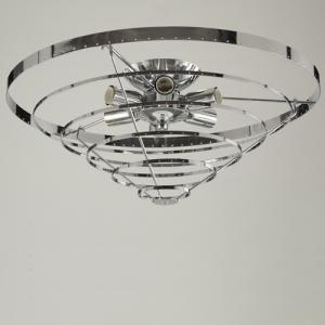 Montatura plafoniera, 6 luci, color nickel, diametro 50 cm
