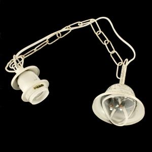 Montatura sospensione lampada E27 avorio con spazzolate oro anticato corona con catena e cavo elettrico bianco