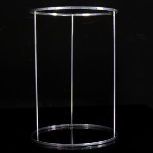 Montatura verniciata cromo per portacandela, bordo 6 mm con 36 fori per catene di cristalli. Ø20 x h30 cm
