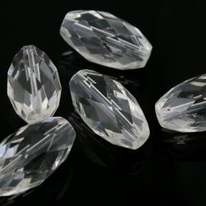 Oliva sfaccettata 36 mm con foro passante, cristallo vetro molato