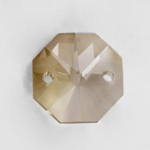 Ottagono 14 mm cognac vetro cristallo molato 16 facce 2 fori.