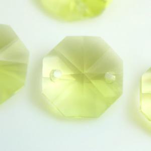 Ottagono 14 mm giallo lime vetro cristallo molato 16 facce 2 fori.