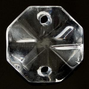 Ottagono 14 mm vetro colore puro trasparente, 2 fori.
