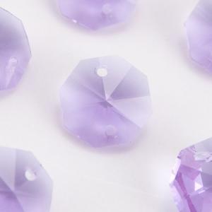 Ottagono 14 mm violetto vetro cristallo molato 16 facce 2 fori.
