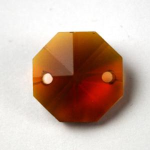 Ottagono 16 mm ambra caldo cristallo vetro molato 2 fori
