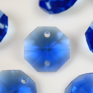 Ottagono 16 mm blue cristallo vetro molato 2 fori