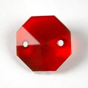 Ottagono 16 mm rosso cristallo vetro molato 2 fori