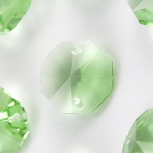 Ottagono 16 mm verde chiaro cristallo vetro molato 2 fori