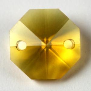 Ottagono 18 mm giallo cristallo vetro molato 2 fori