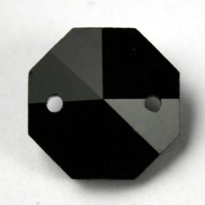 Ottagono 18 mm nero lucente cristallo vetro molato 2 fori