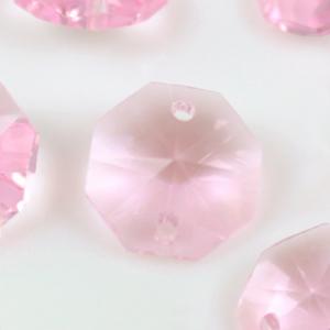 Ottagono 18 mm rosa cristallo vetro molato 2 fori
