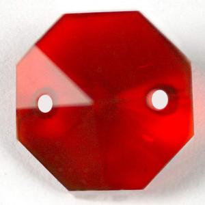 Ottagono 20 mm rosso cristallo vetro molato 2 fori